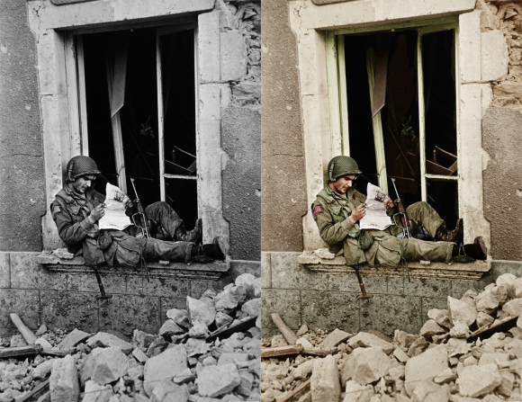 airborne relaxing before and after colourisation normandy 1944
